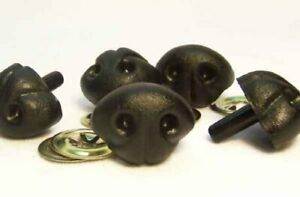 Sassy Bears 25mm Black Animal Safety Noses for bears, dolls, crafts (5 noses)