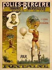 1880s Folies Bergere Fontaine Vintage Style Circus Poster - 24x32