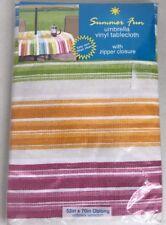 Vinyl Tablecloth Flannel Back Freeport Stripe Varied 4 Colors Spring Summer NEW