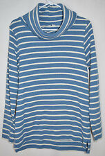 L.L. Bean Cotton Sweater Cowl Neck Blue/White Stripe Women's Medium Reg