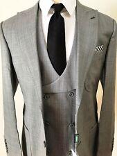 Grey super 150 cerruti wool suit/grey vest/wide peak lapel/double stitched