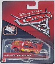 Disney Pixar Cars 3 Lightning Mcqueen Diecast Mattel 1:55 Scale With Mini Poster