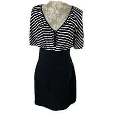 Nicole Miller Black White Striped Dress 14
