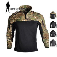 Mens Tactical Long Sleeve T-Shirts Military Army Combat Shirt Hiking Camouflage