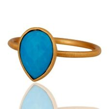 Turquoise Gemstone Sterling Silver Stacking Ring With Yellow Gold Plated Jewelry