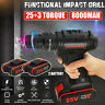 3/8'' 25V Cordless Drill Impact Driver Screwdriver LED Light 2x 8000mAh Battery