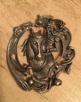 Vintage Pewter Knight And Horse Peddant
