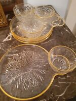 8 pc Vintage Gold Rim Cut Glass Snack Luncheon Plate Set Federal Glass? 10 inch