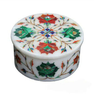 """4"""" Marble Ring Box Semi precious stones Inlay Marquetry Decor gifts"""