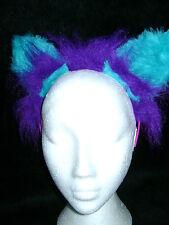 The Cheshire Cat Fancy Dress Ears Purple & Turquoise Fur Cat Ears Costume Ears