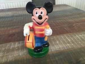 Vintage Disney Mickey Mouse drummer Coin  Bank 70's