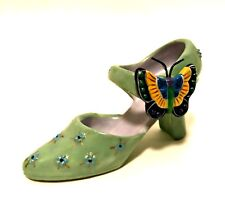 Miniature Porcelain Shoe Antique Ladies Green w/ Applied Butterfly 4 inches Long