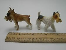 Fox Terrier dog Boxer with Puppy Miniatures china Figurines Lot of 2