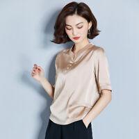 Women Slim Silk Chiffon Short Sleeve Tops Shirt Summer Leisure V Neck Blouse Tee