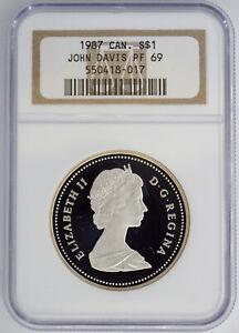 CANADA 1987 PROOF JOHN DAVIS $1 SILVER DOLLAR NGC PF69 418017