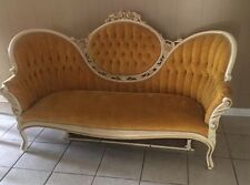 Vintage Victorian Style Cameo Sofa & 2 Balloon Back Chair by Kimball