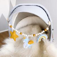 Unicorn Rainbow Felt Pram Garland Wood Beads Baby Teething Stroller Toys Rattles
