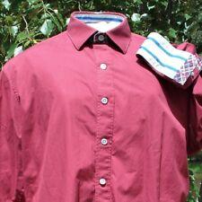 "ROBERT GRAHAM SHIRT M/LT tailored 16"" MARSALA RED 45"" CHEST BLUE ON GREY INNERS"