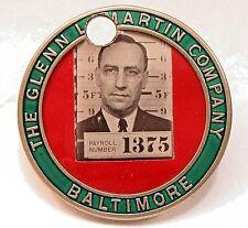 WWII GLENN L. MARTIN CO. BALTIMORE employee badge pinback AVIATION Home Front +