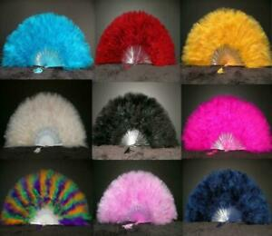 """MARABOU FEATHER FAN 20"""" x 12"""" Top Quality! 28 Colors Available! Wedding/Costume"""