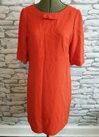 Hobbs Ladies wool blend dress bow 12 uk orange