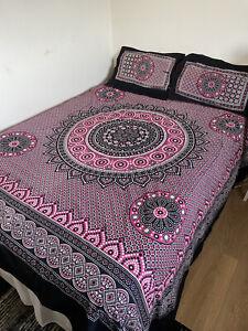 Boho Mandala Hippie Style Bedsheet/2 Pillowcases/Sindhi Double Reversible