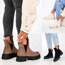 Damen Plateau Boots Stiefel Stiefeletten Schlupf Schuhe Winter Outdoor Leicht Ge