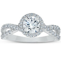 1 Ct Halo Intertwined Diamond Engagement Ring 14k White Gold