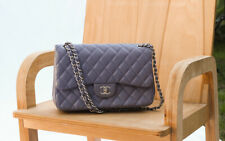 CHANEL $6500 Light Purple Classic Leather Quilted Med Double Flap Shoulder Bag