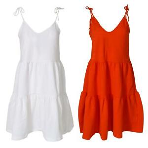 ex H&M Strappy Tiered Summer Sun Dress Textured Jersey Knee Length Loose Fit