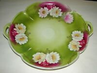 Antique Rosenthal Porcelain Handled Platter Tray Chrysantheme Flowers 1890s 11""