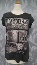 Ladies Dark Grey Short Sleeve T shirt With Mexico on the front Size 12