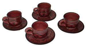 Moroccan Espresso Cups Handmade Ceramic Set of 4 with 4 Saucers Coffee tea
