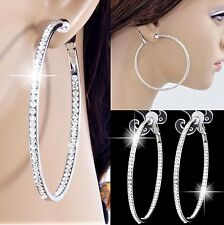 """#C100 NON-PIERCED CLIP ON STUNNING CRYSTAL 2.3"""" LARGE CIRCLE HOOP WOMEN EARRINGS"""