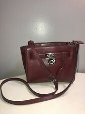 Micheal Kors Hamilton Travel Burgundy Leather Messenger Bag