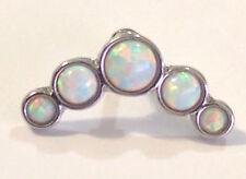 18G 17mm Long 5 Opal Bend Helix Cartilage Ear Piercing Silver Bar Steel Barbell