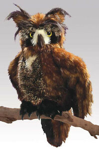 PLUSH SOFT TOY Folkmanis 2403 Great Horned Owl Full Hand Puppet Rotating Head