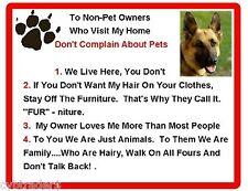 Funny Dog German Shepherd House Rules Refrigerator / Magnet Gift Card Insert