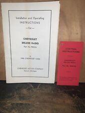 1940 Chevrolet Deluxe Radio -Operating Instruction Manual- Original Copy!