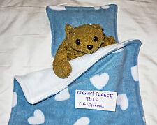 DOLL blanket cot pram bedding set BLUE & white HEARTS pillow FLEECE