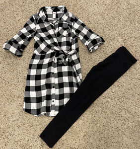 Justice Girls Sz 10 Outfit 1/2 Sleeved Plaid Button Up Tunic Dress + Leggings