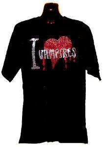 I LOVE VAMPIRES RHINESTUD T SHIRT gothic horror any size s-xxl