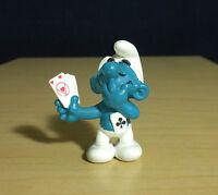 Smurfs Card Player Smurf 20056 Vintage Figure Rare PVC Toy Casino Poker Figurine