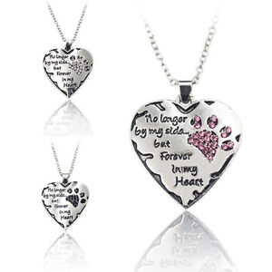 Clear Pink Silver Cat Dog Pet Paws Claw Footprint Crystal Heart Pendant Necklace