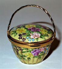 STAFFORDSHIRE ENAMEL BOX -FLOWER BASKET & HANDLE- ROSES -BLUEBELLS- STAR FLOWERS