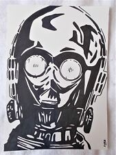 A4 Art Marker Pen Sketch Drawing C3-PO See Threepio Face from Star Wars Poster