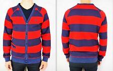 ADIDAS Men's Long Sleeve V-neck Press-stud Placket Striped Sweatshirt Cardigan M