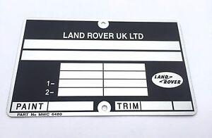 Plaque constructeur LAND ROVER UK - LAND ROVER UK vin plate