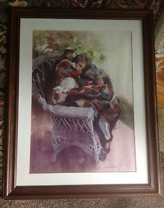Lady With Cat Watercolor Print Signed And Dated By Lynne Yancha