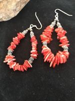 Native American Sterling Silver Navajo Red Spiny Oyster Earrings